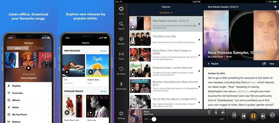 características de la app para escuchar música sin internet