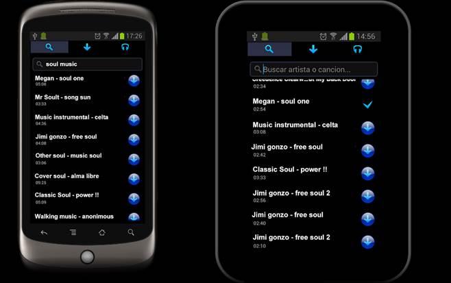 interfaz de la app straussmp3+