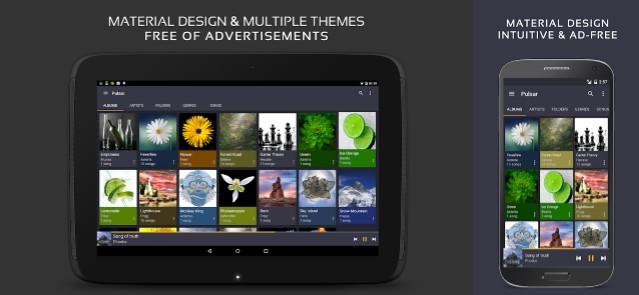 interfaz en tablet y móvil de pulsar music player