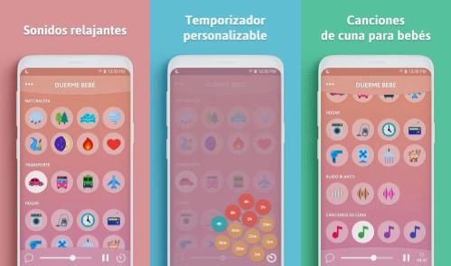 opciones de la app duerme bebé