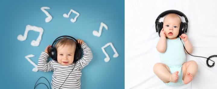 bebés escuchando música